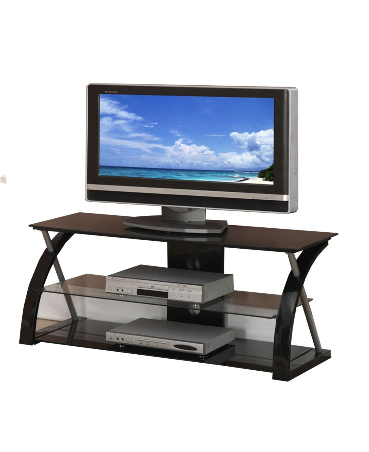 Benzara Metal Tv Stand With 3 Glass Shelves Reviews Furniture
