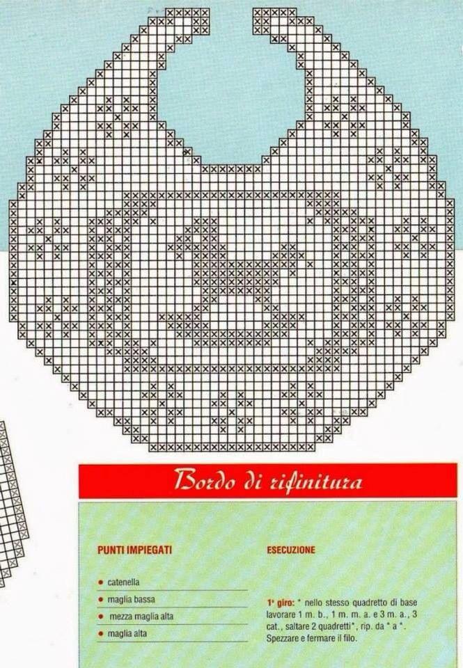 Filet crochet bib   Crochet - Babies   Pinterest   Ganchillo, Bebé y ...