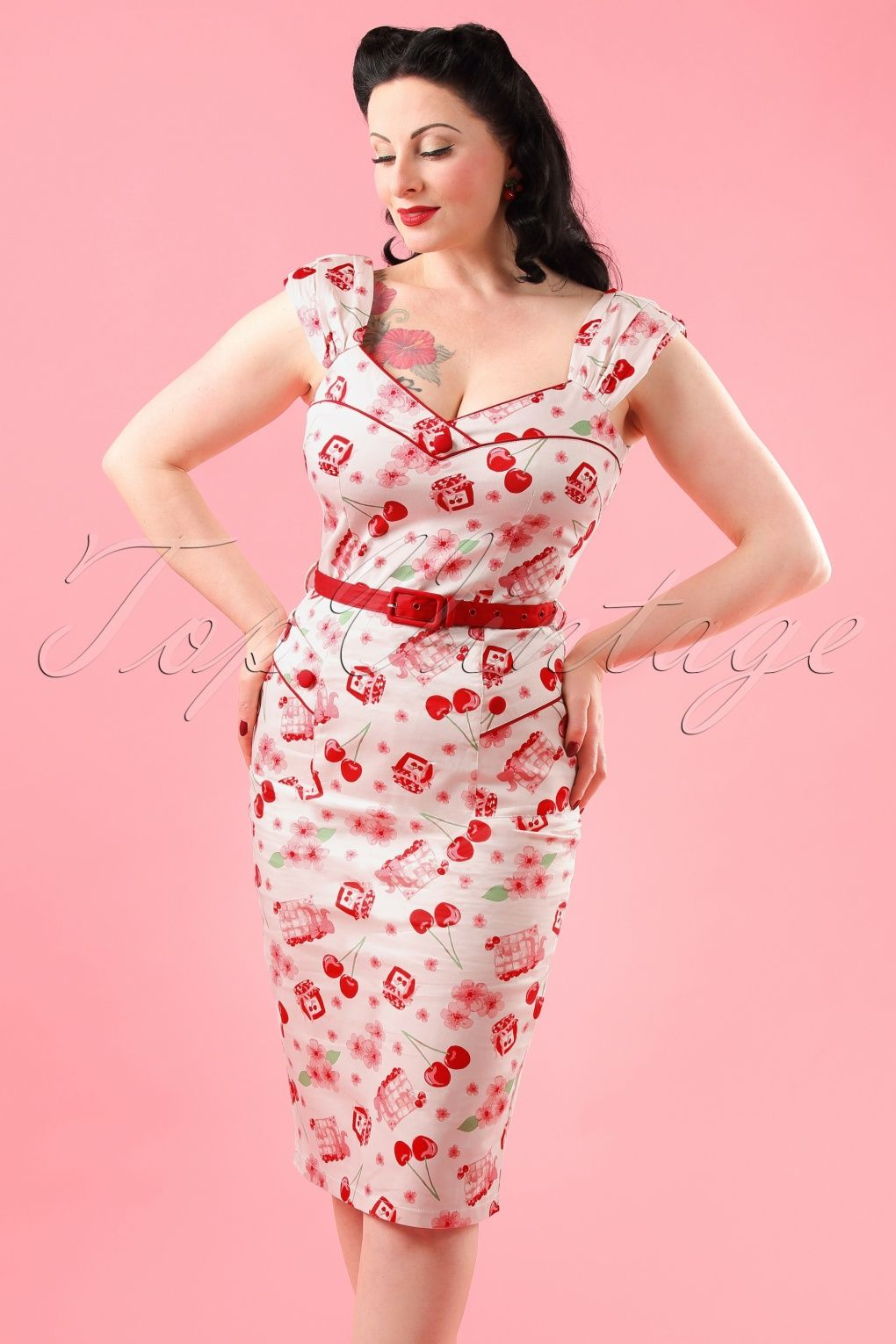 50s Fenna Cherry Pencil Dress in Light Pink