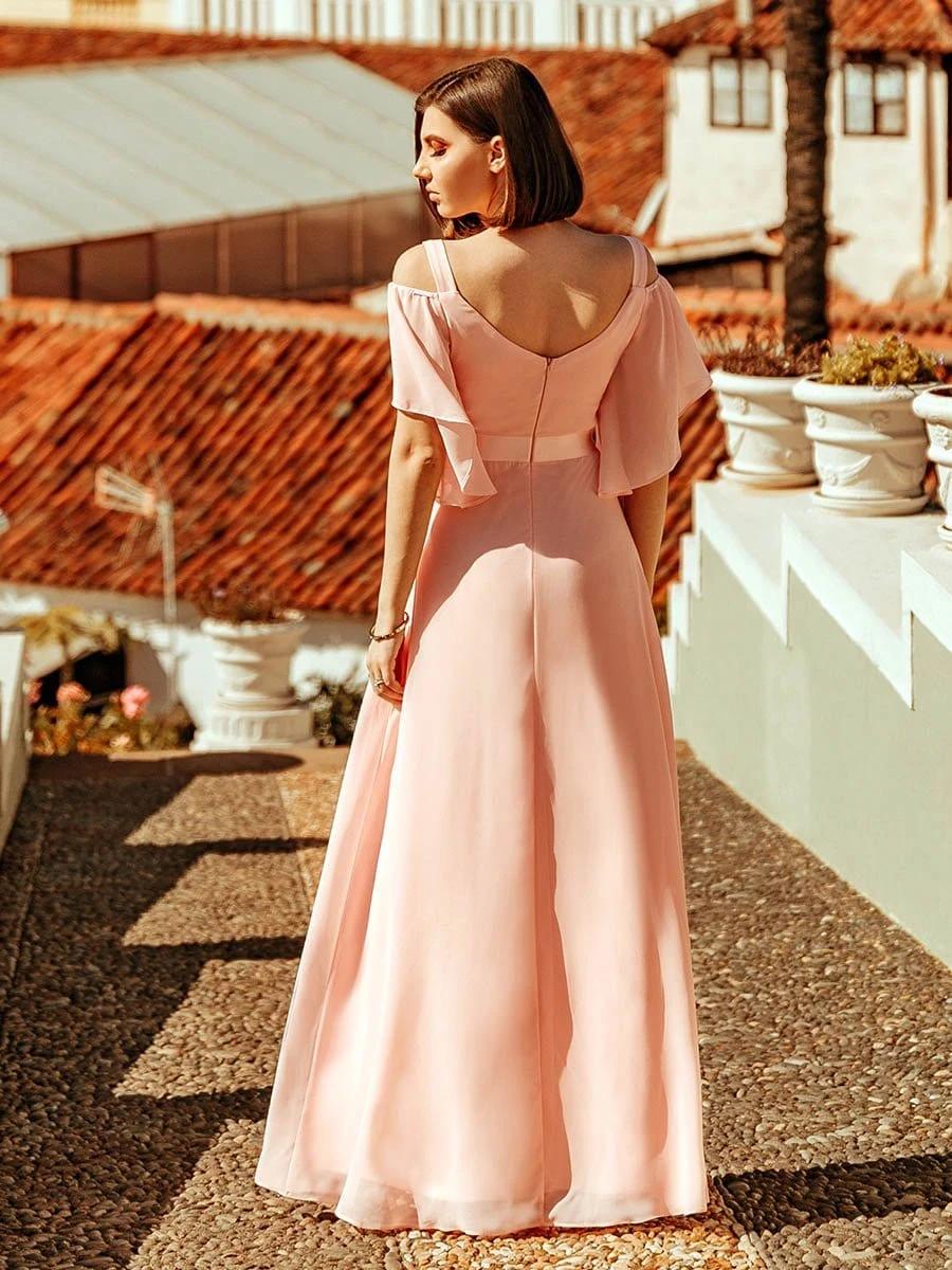 Women's Off Shoulder Floor Length Bridesmaid Dress with