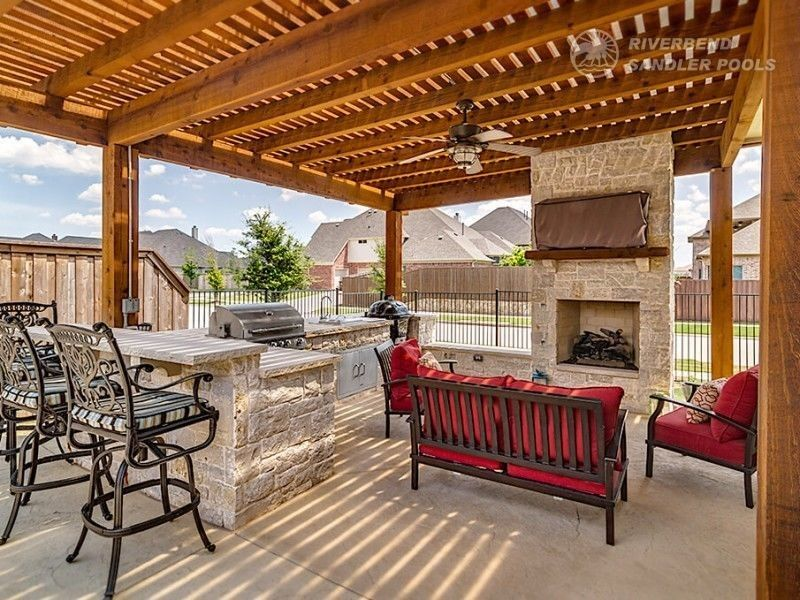 Outdoor Kitchen Dallas Frisco Outdoor Living Areas Pool Builder Freestanding Fireplace Cottage Fireplace Fireplace Seating