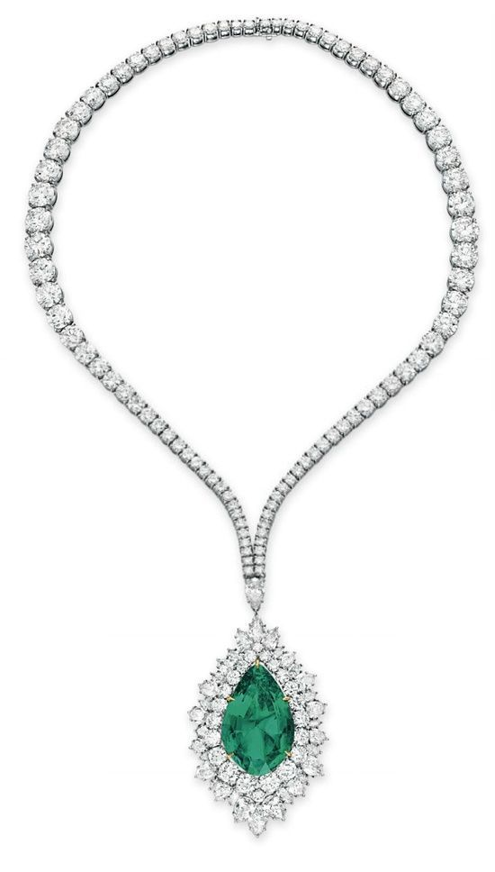An emerald and diamond pendant necklace by harry winston an emerald and diamond pendant necklace by harry winston suspending a detachable pendant set with aloadofball Images