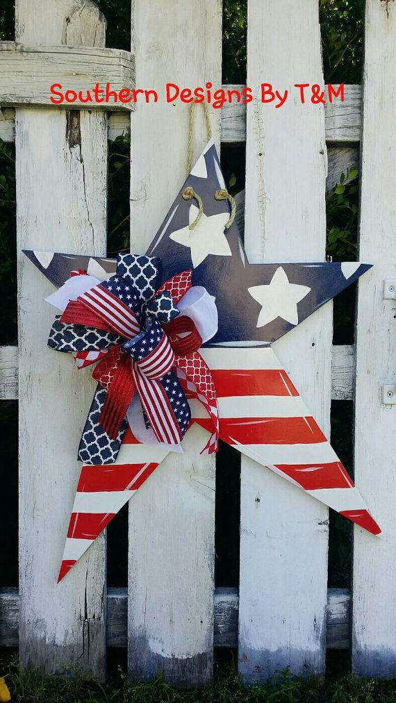 Patriotic Star wooden door hanger, star door hanger, 4th ...