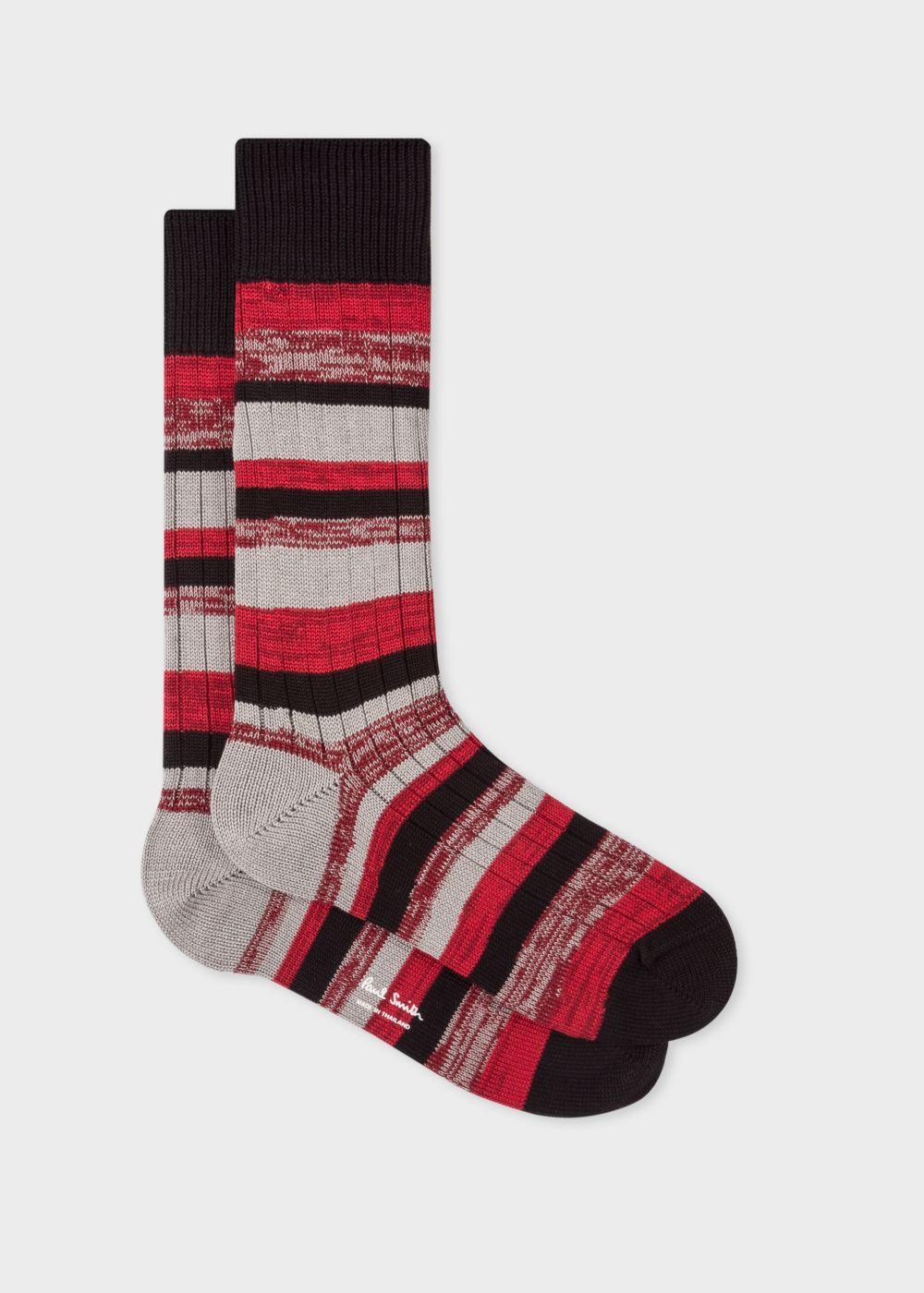 Men's Black And Burgundy Stripe Chunky Socks Paul Smith