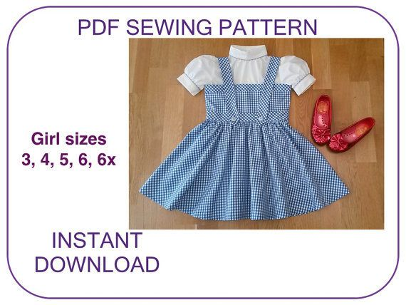 DOROTHY pdf sewing pattern tutorial. Wizard of Oz Dorothy