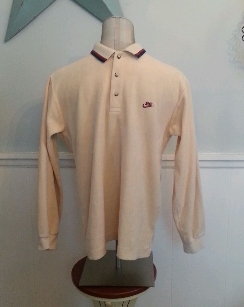 Vtg Long Sleeve Velour Nike Polo Shirt Early 80s Sz M Made In Usa