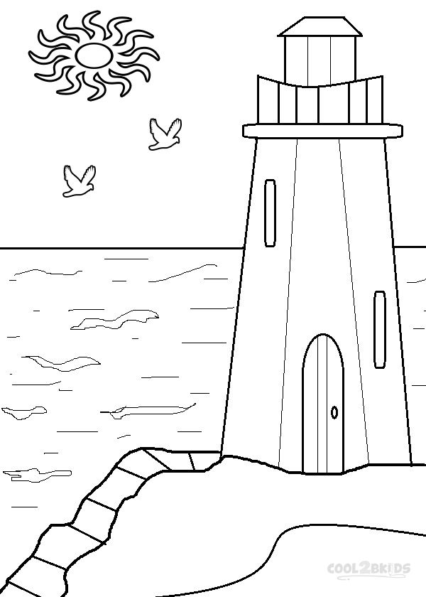 Lighthouse Coloring Pages To Print Picture For The Top Adult
