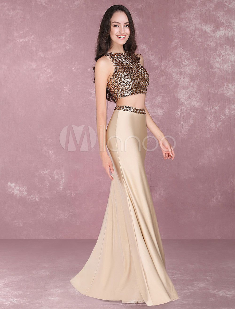 Mermaid Prom Dresses 2 Piece Occasion Dresses Taupe Beading ...