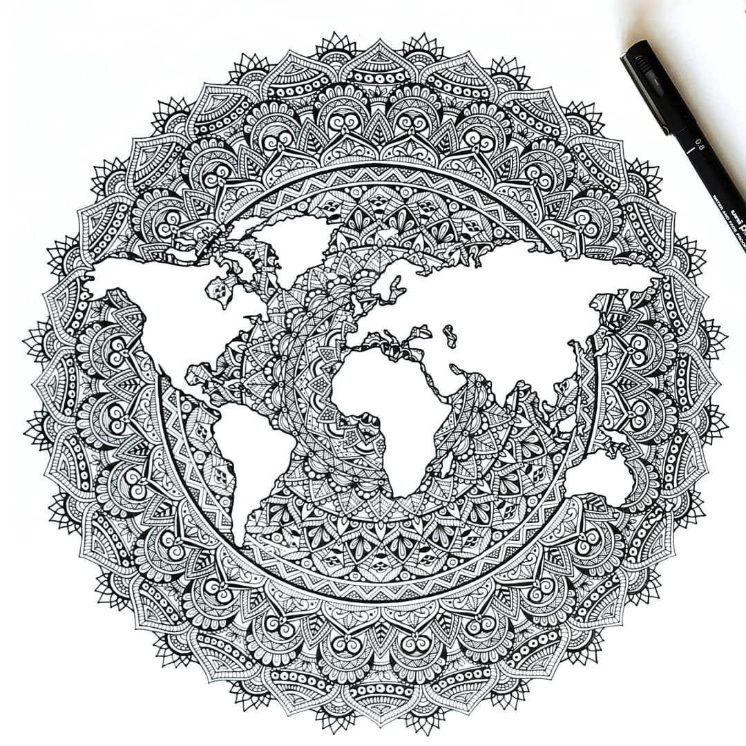 Mon World Mundo Mandala Mandalas Map Mapamundi