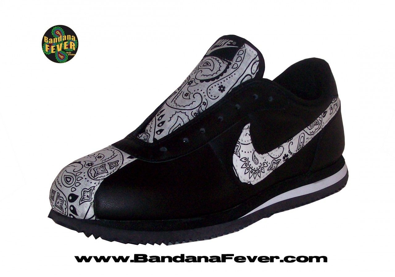 b1517cd1ad2c3 Bandana Fever - Bandana Fever Custom Bandana Nike Cortez Leather  Black White White Bandana