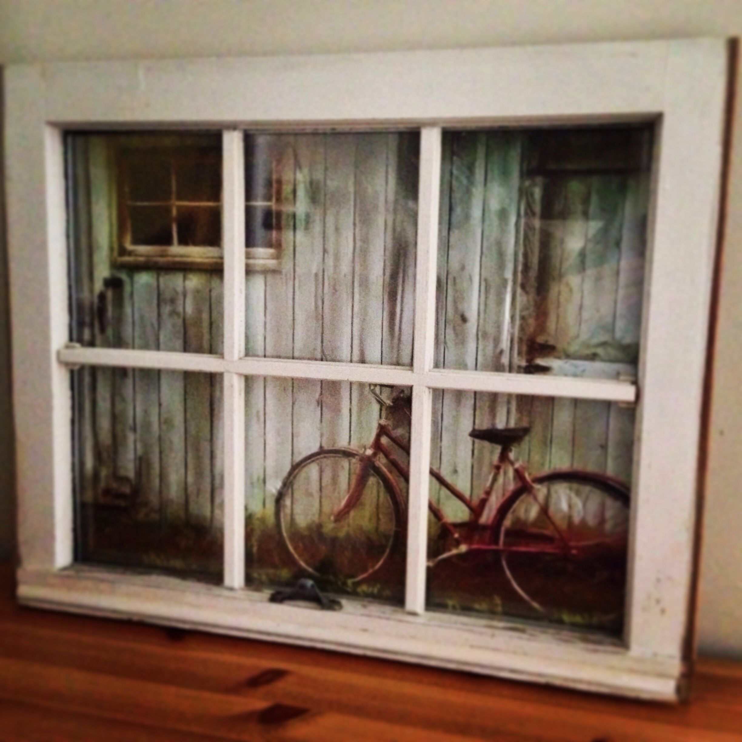 Old wooden window used as picture frame