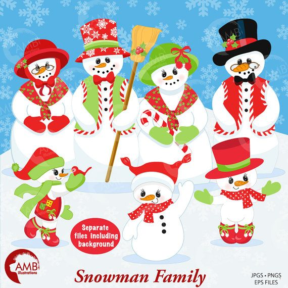 Snowman Clipart Christmas Frosty The Snowmen Family Commercial Use Instant Download AMB 566