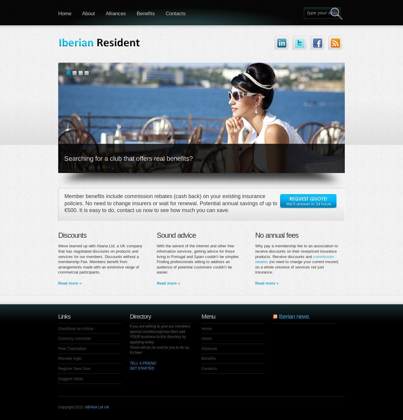 WordPress site iberianresident.com uses the Boldy wordpress template ...