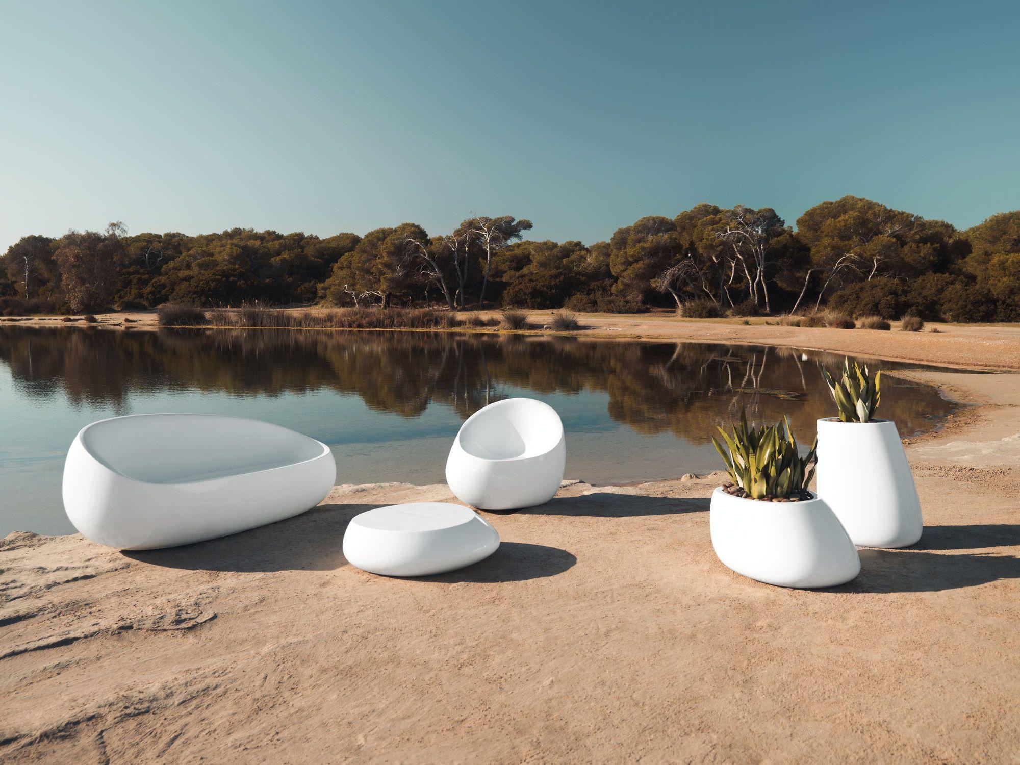 Pot jardinière blanc stone vondom design outdoor mobilierdejardin jardin exterieur terrasse