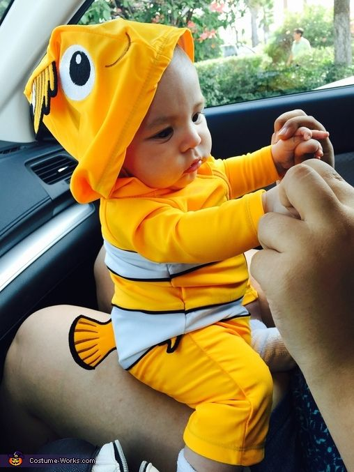 Ofelia: My two month old baby boy is wearing his Finding Nemo costume. His name is Christopher, born July 14, 2015. We were going to an Under The Sea birthday party...