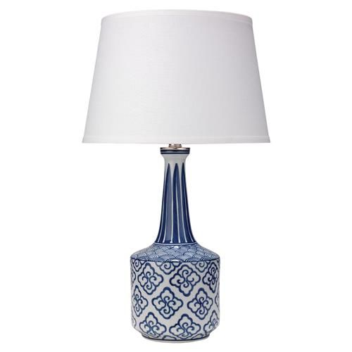 Brody Modern Classic Blue White Ceramic White Linen Shade Table Lamp is part of Classic Home Accessories Blue And White -