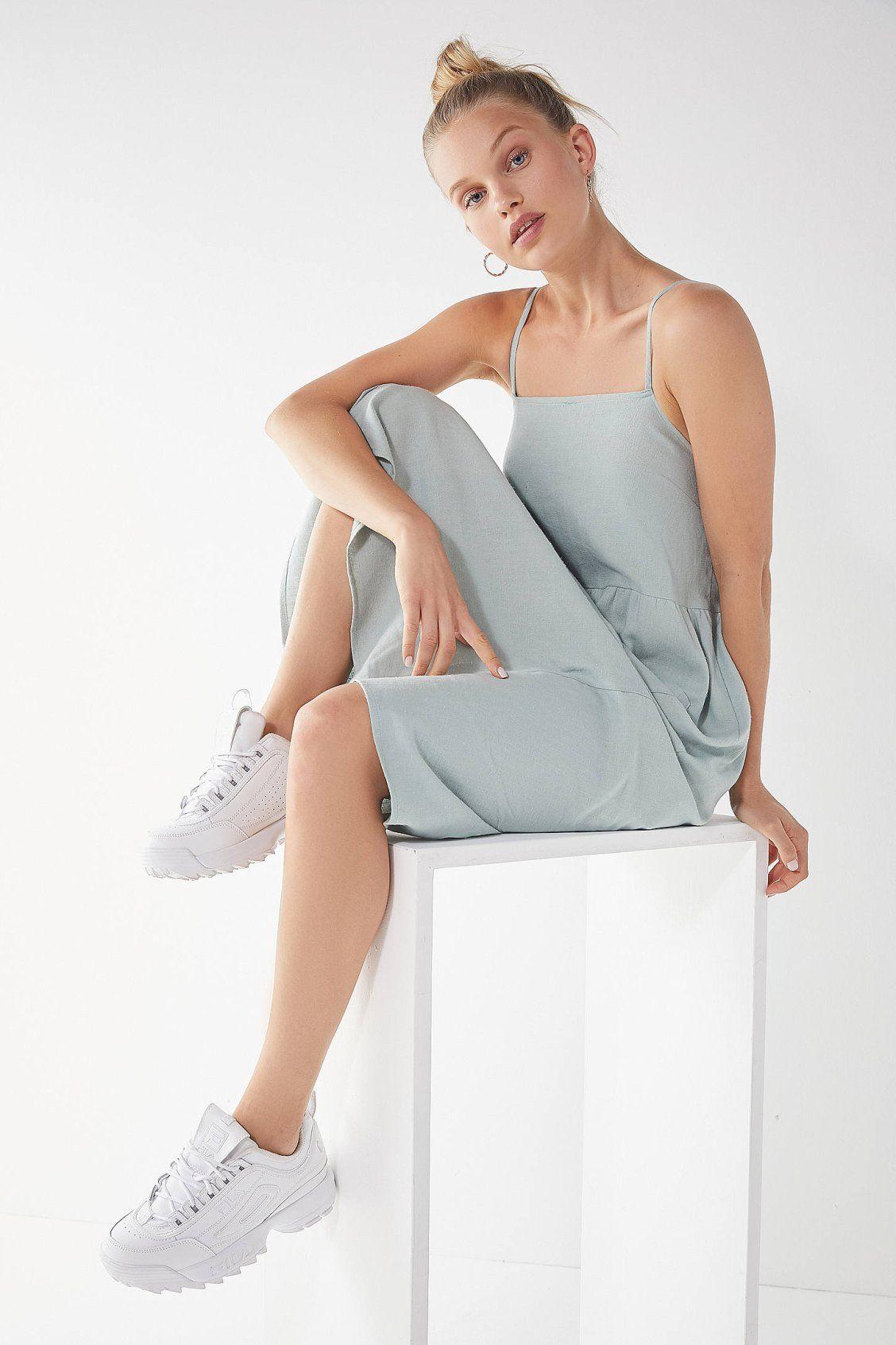 aac15e9ef20 Urban Renewal Remnants Linen Babydoll Midi Dress | Dresses | Urban ...