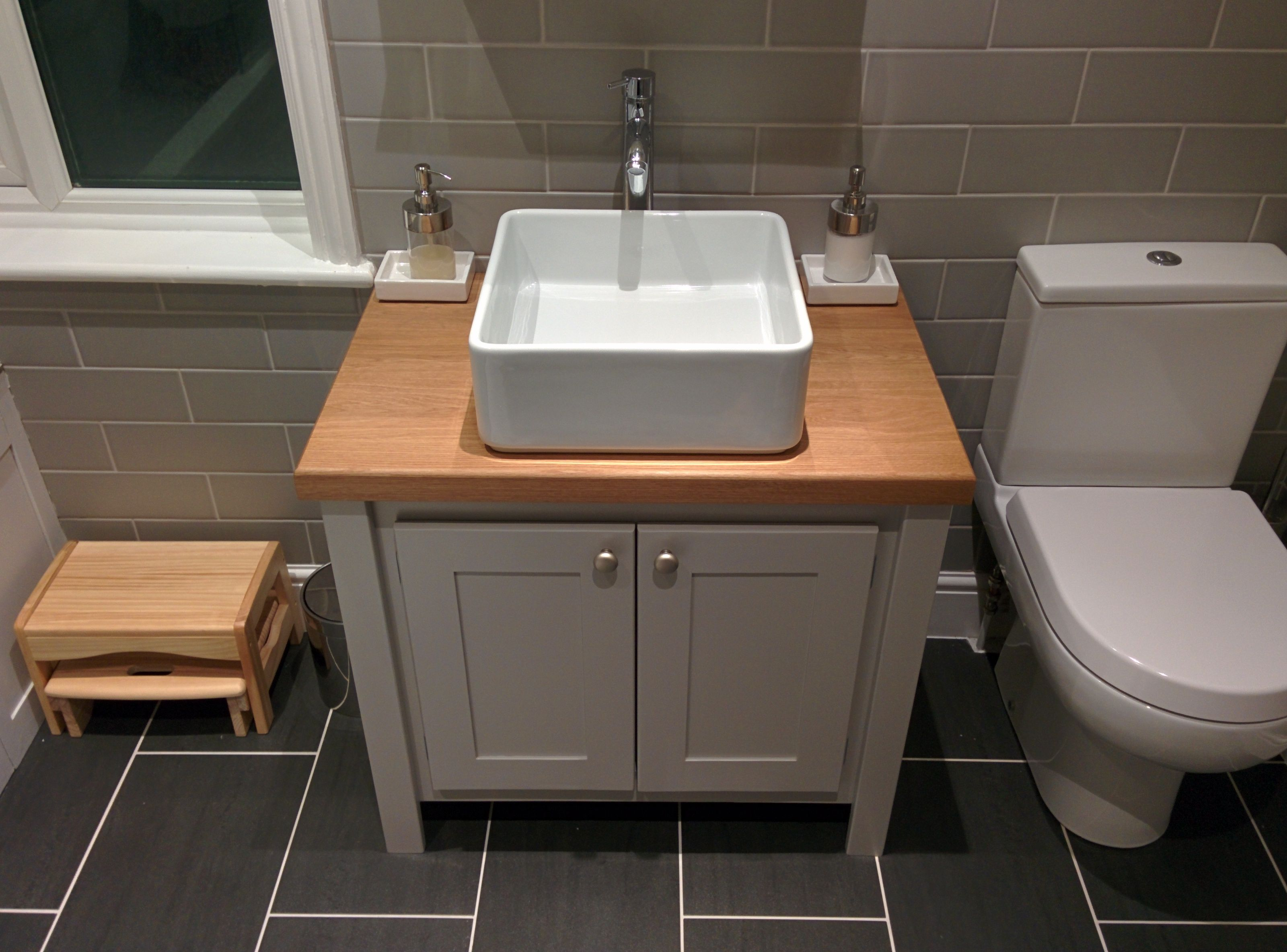 Vanity Unit Bathroom Grey manor house grey with a solid oak top vanity unit. all our vanity