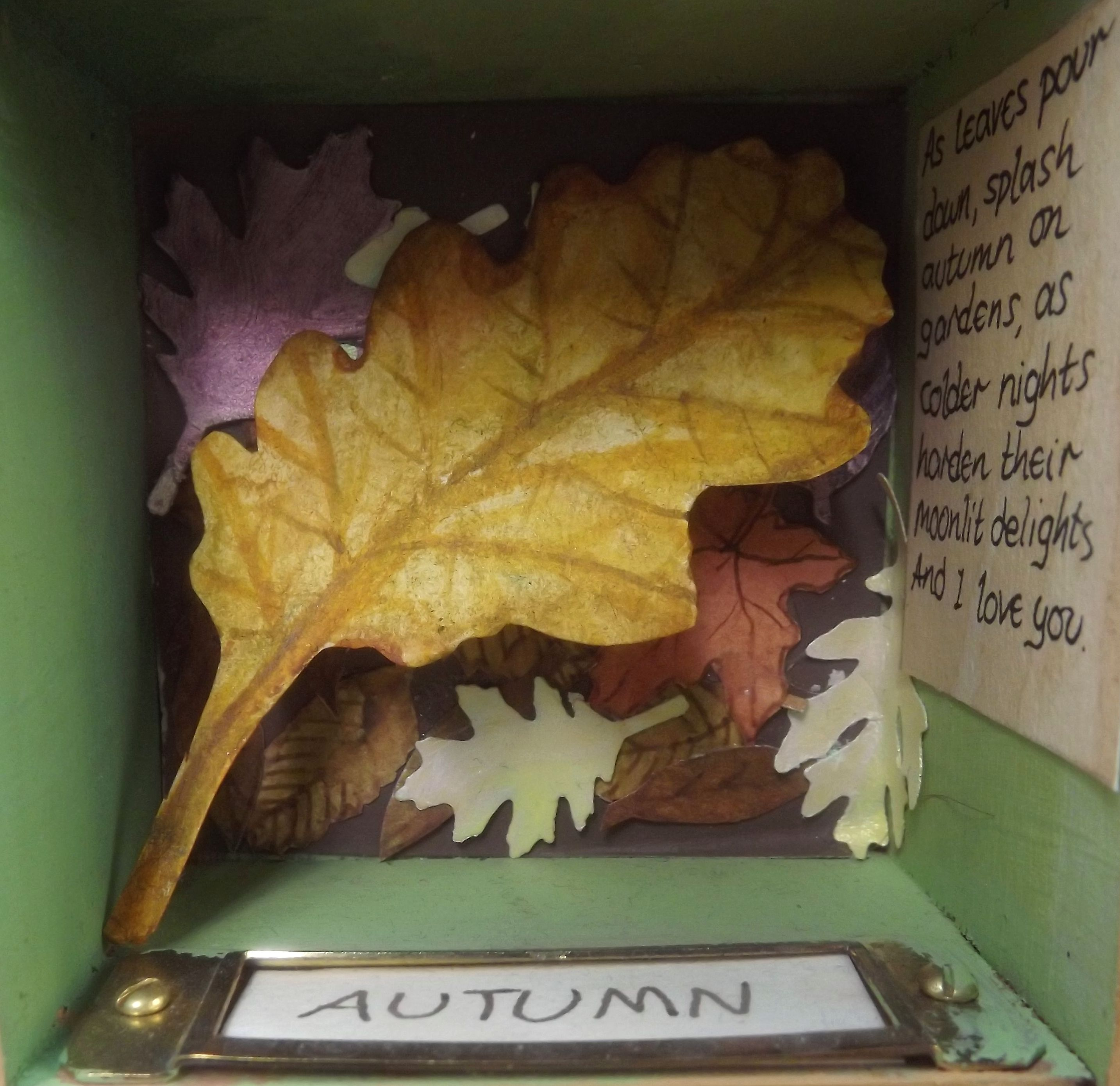 Autumn\' - selection of painted paper leaves, with lyrics from \'Pure ...