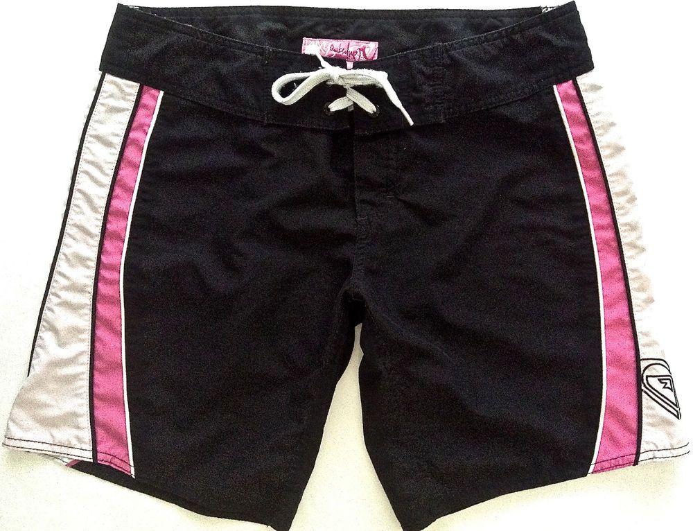 17d517e1ed ROXY by Quiksilver Womens Board Shorts Size 7 Surfing Swimwear Black Pink # Roxy #BoardSurf