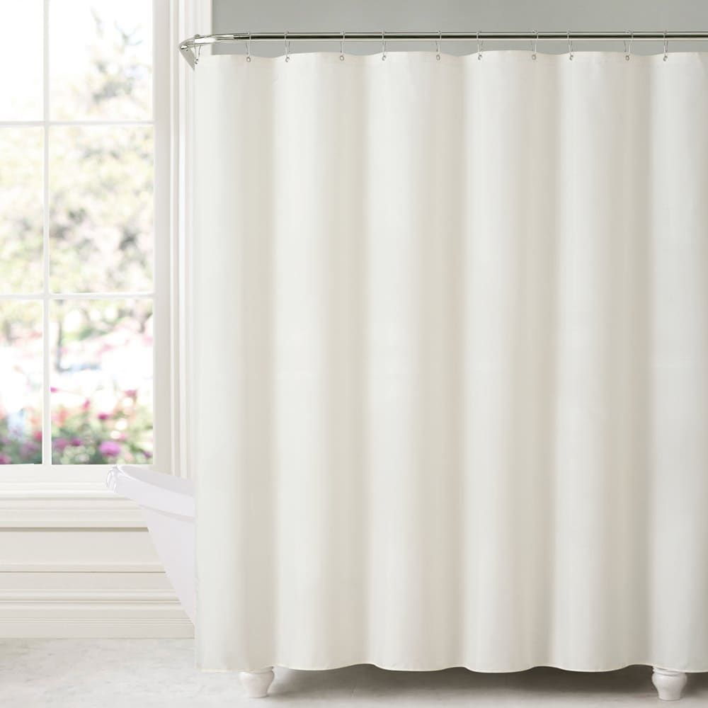 Mildew Free Water Repellent Fabric Shower Curtain Liner In White