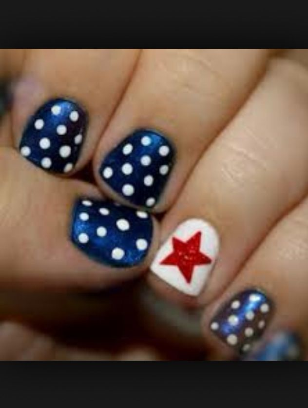 Blue with white polka dots & white with a red star