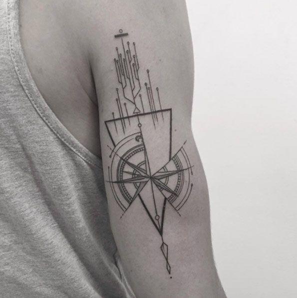 Geometric Compass Tattoo Design By Balazs Bercsenyi Geometric Compass Tattoo Compass Tattoo Design Geometric Tattoo