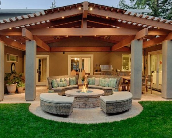 23 Roofed Back Porch With A Fire Pit And A Conversation Area Shelterness Backyard Covered Patios Backyard Patio Backyard