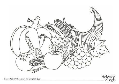 Fun Printable Cornucopia colouring coloring page for autumn fall or ...