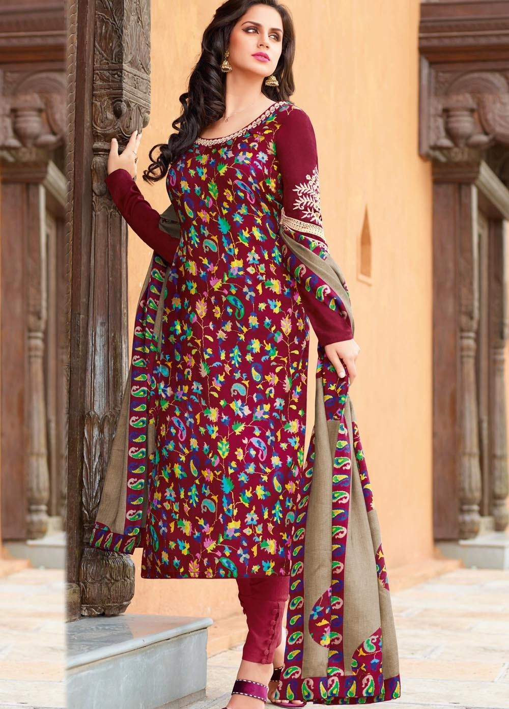 Online #Shopping Splendid Art Tussar #Silk #Suit with #Pashmina ...
