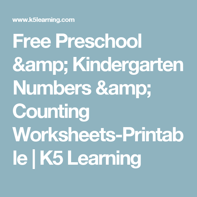Free Preschool & Kindergarten Numbers & Counting Worksheets ...