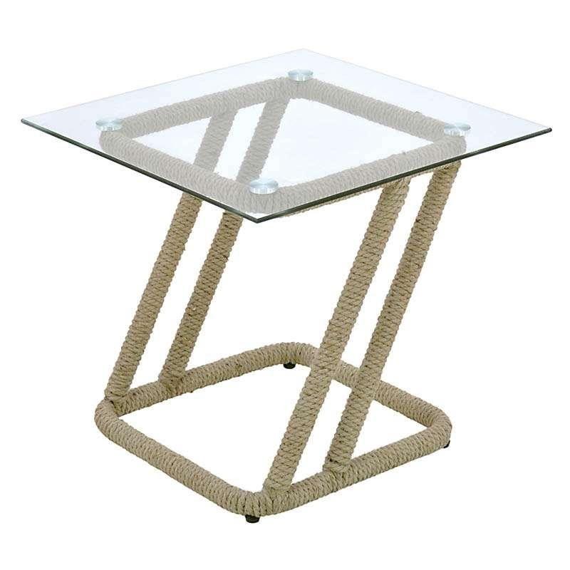 Metal Glass Table In Beige Color W Jute Rope 55x55x50 Coffee
