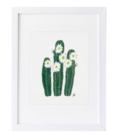 Design Darling home decor & monogrammed gifts — White Flowering Cactus Print