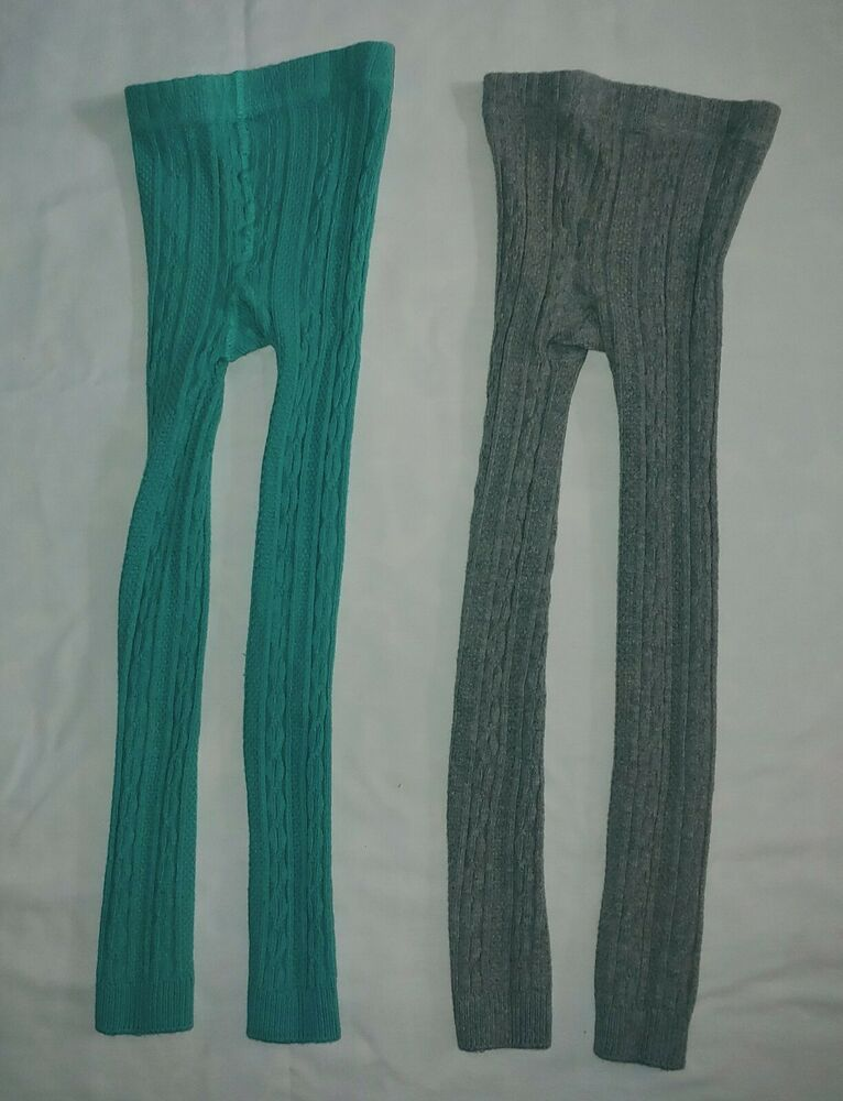 7f6ce8ee6 NWOT Mini Boden Size 6-7 footless cable knit tights 2-pack in gray ...