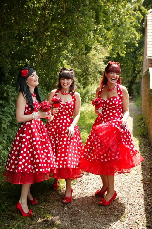 The More I See Red White Polka Dot Rockabilly Bridesmaids Dresses Like Em Really Who Says It Has To Be A Dress For Bride