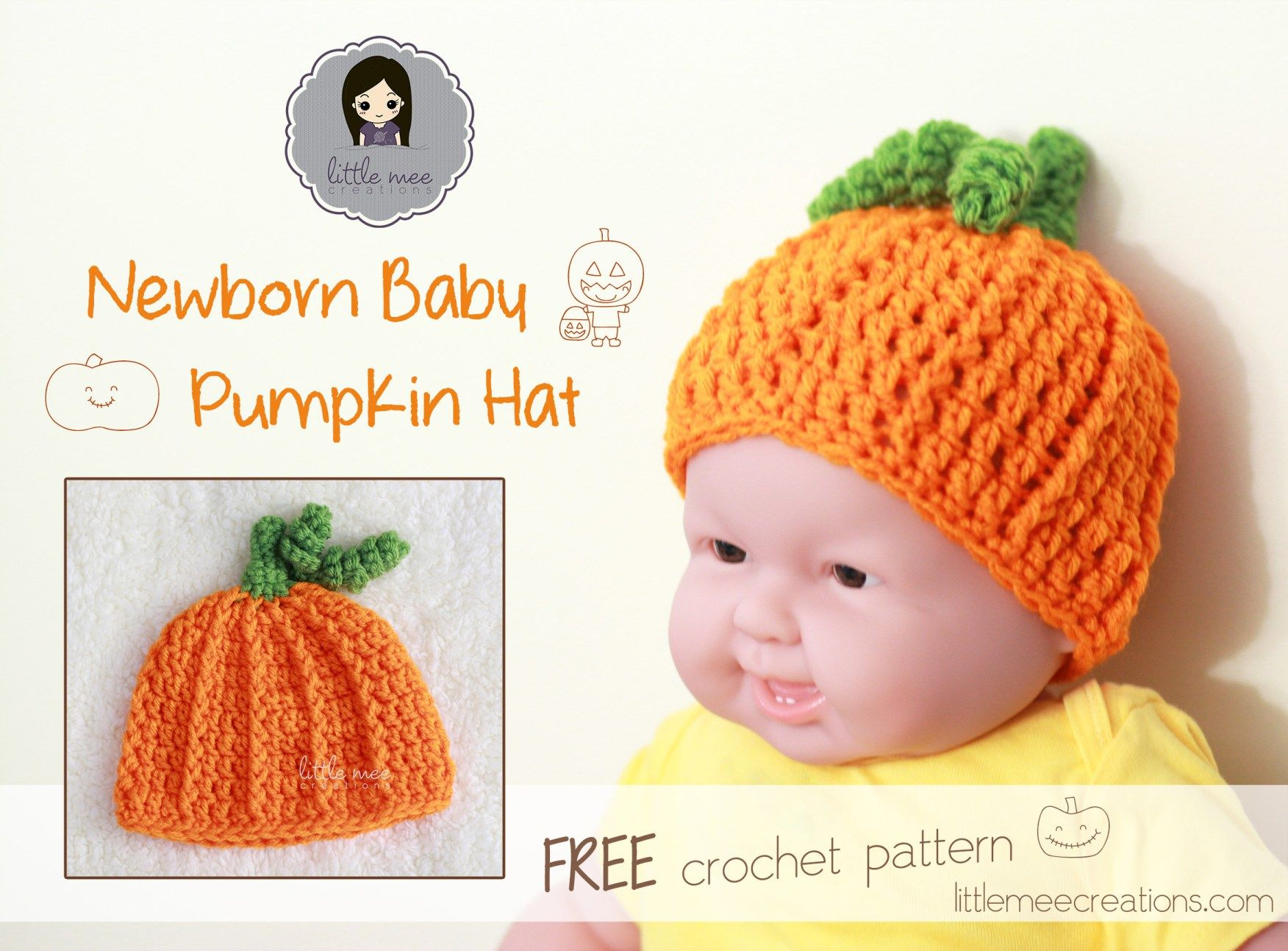 baby pumpkin hat free crochet pattern by LittleMeeCreations *Use for ...