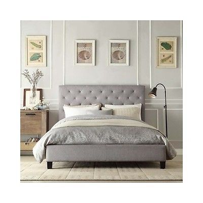 Details about Queen Platform Bed New Tufted Apolstered Headboard ...