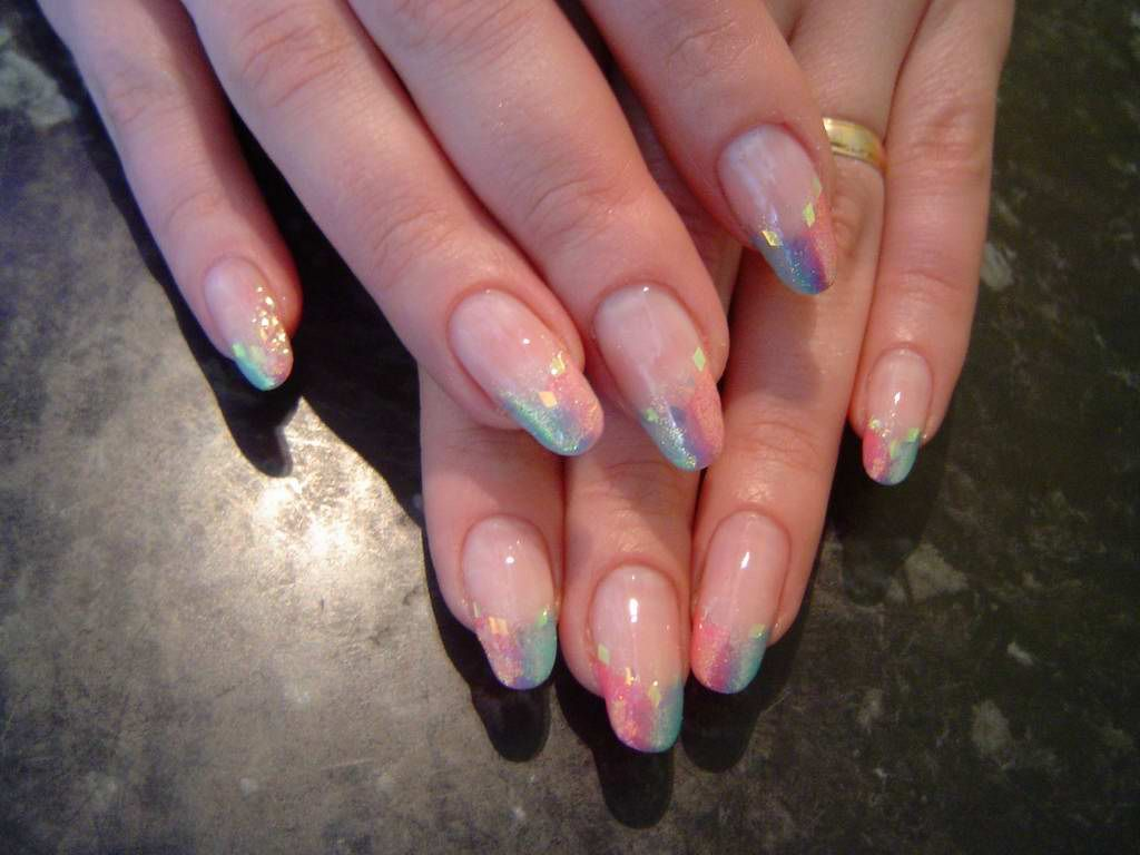 Multicolored French Nails Nail Art Pinterest French Nails And