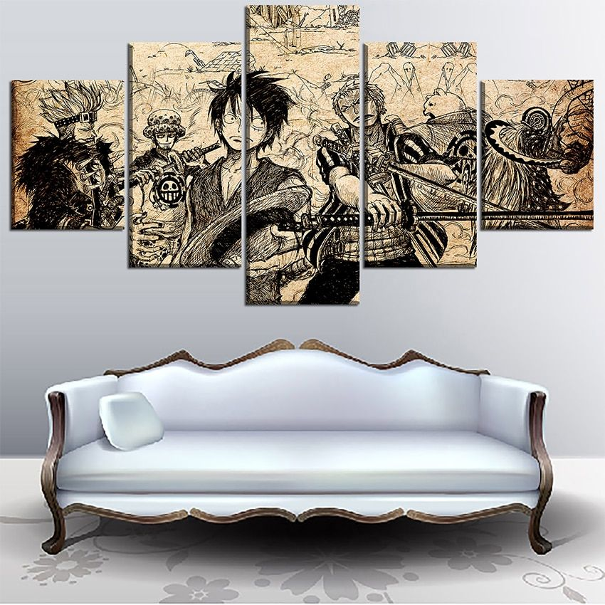 5 panel artistic characters picture framework anime canvas
