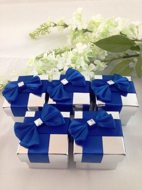 25 Royal Blue Silver Favor Box Wedding By Alymishelledesigns Blue Themed Wedding Blue Wedding Favors Royal Blue Wedding Theme