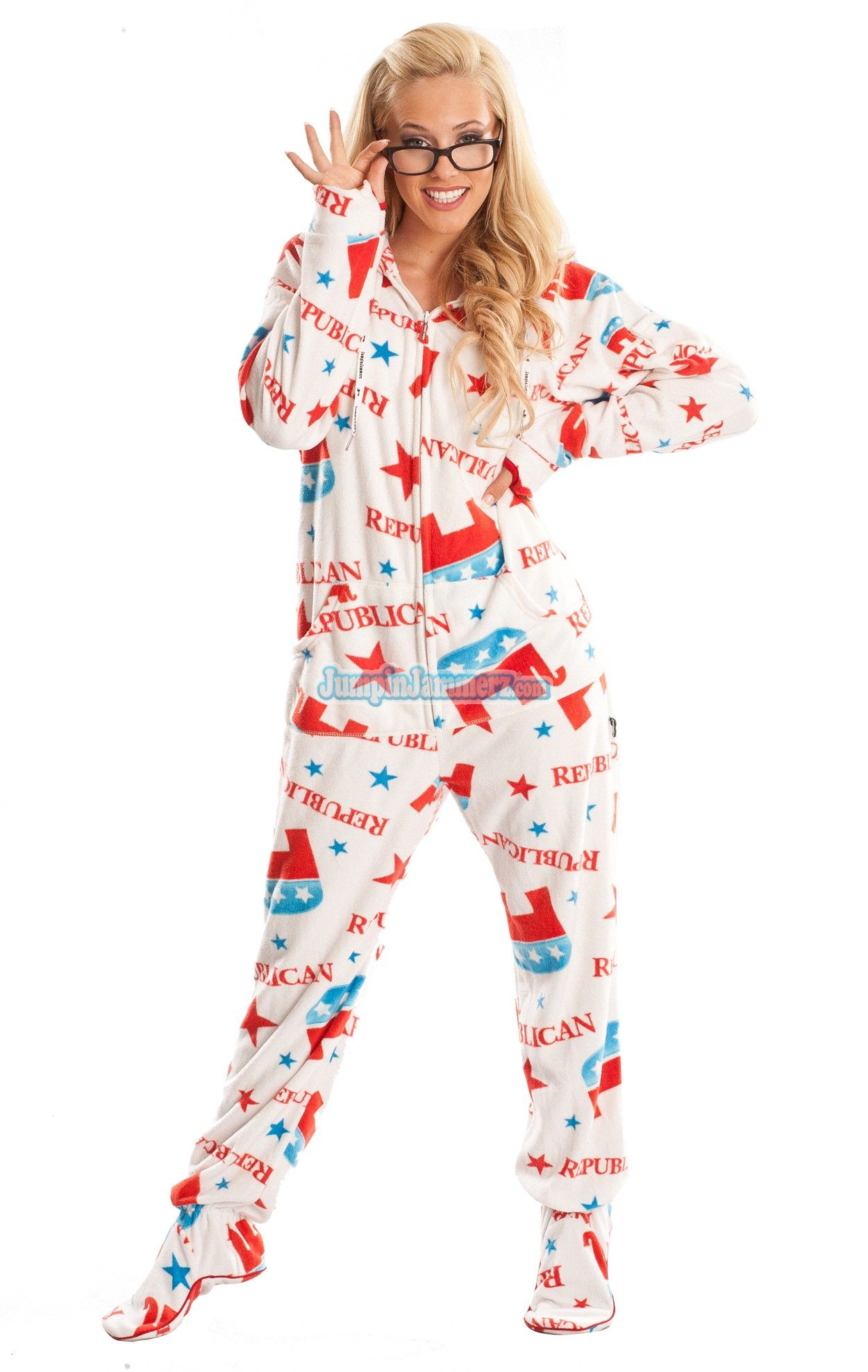 Republican Pajamas HD - Hooded Footed Pajamas - Pajamas Footie PJs Onesies  One Piece Adult Pajamas - JumpinJammerz.com bb891f1a3