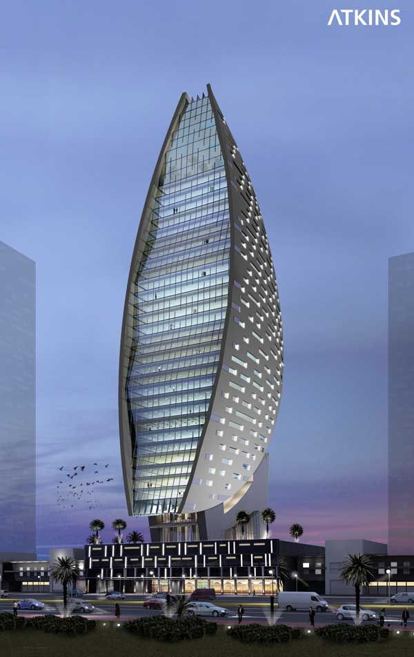 Dubai world trade centre intercontinental hotel by atkins for D shaped hotel in dubai