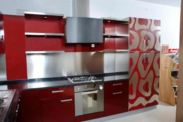 kitchen stainless steel effect and dark red cabinets of modular kitchen with artistic decals on refrigerator - Deckideen Fr Modulare Huser