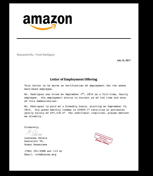 Letter Job Offer Job offer