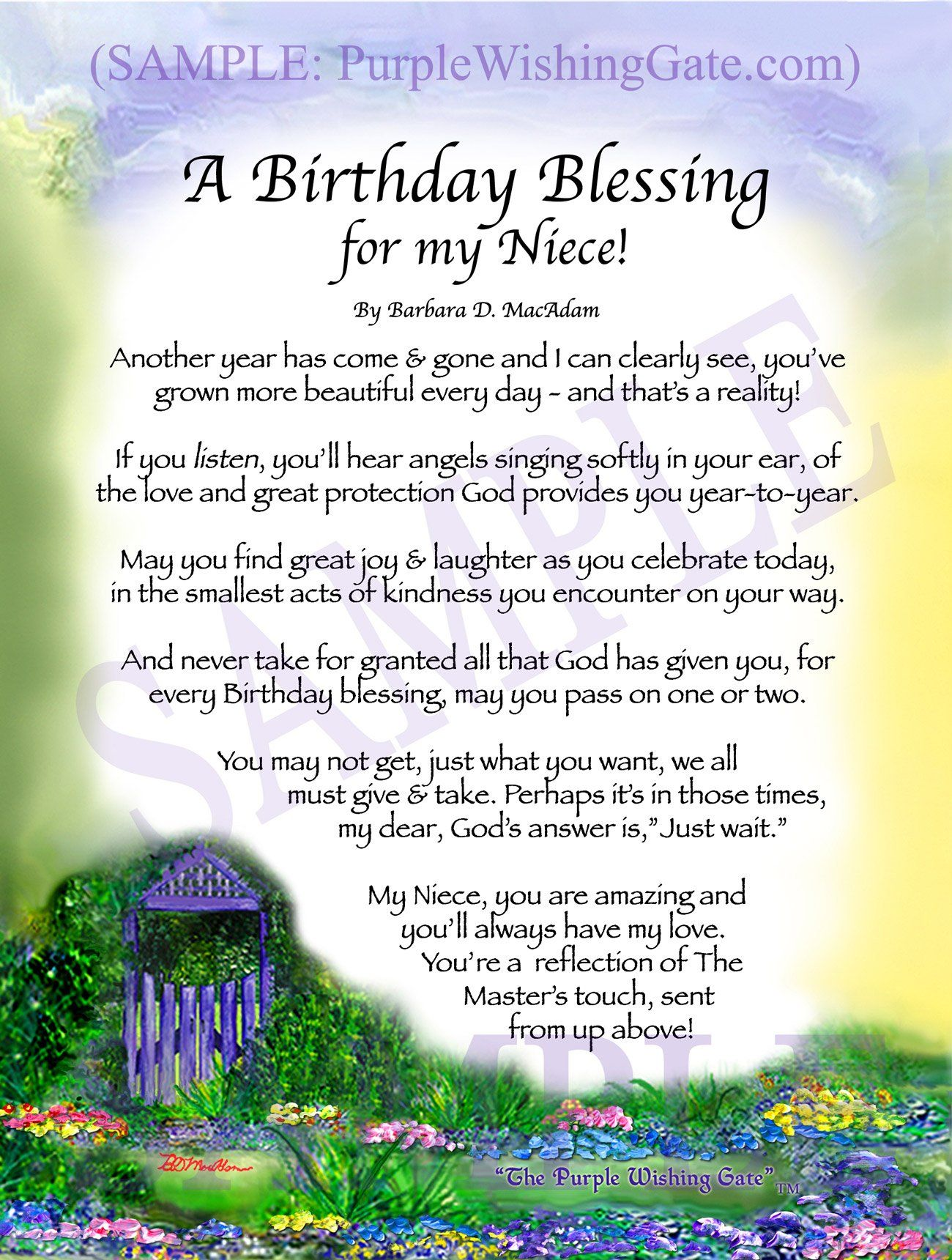 A Nieces Birthday Blessing Framed Personalized Gift Purplewishinggate Com