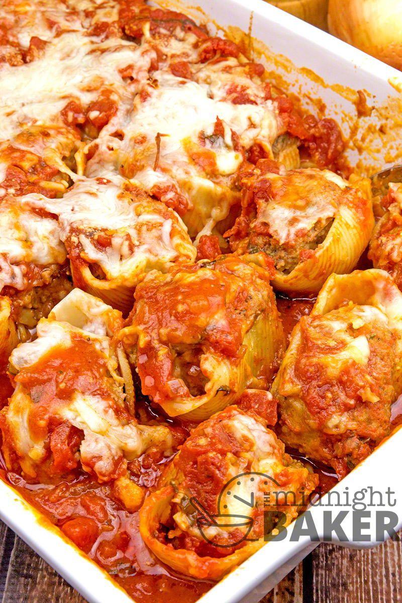 Meat Lovers Stuffed Shells Stuffed Shells Recipe Cheese Stuffed Shells Italian Casserole
