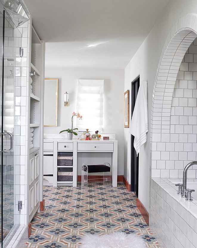 love the concrete tile floors