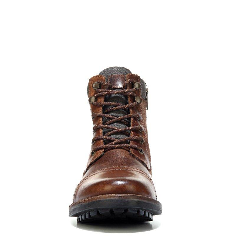 Crevo Men's Methuselah Memory Foam Cap Toe Lace Up Boots (Chestnut Leather)