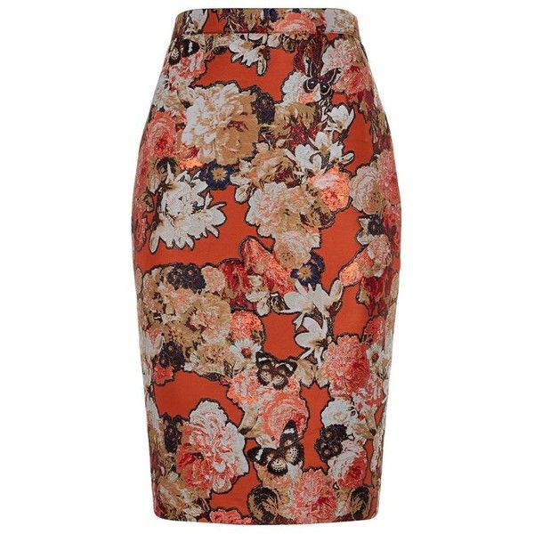 Givenchy Floral Jacquard Pencil Skirt ($1,250) ❤ liked on Polyvore featuring skirts, givenchy, pencil skirt, pattern skirt, print pencil skirt and knee length pencil skirt