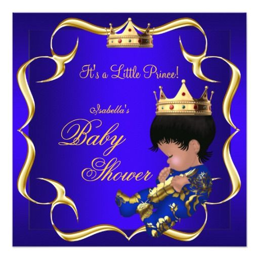 Prince Baby Shower Royal Blue Gold Boy Crown 3 Invites